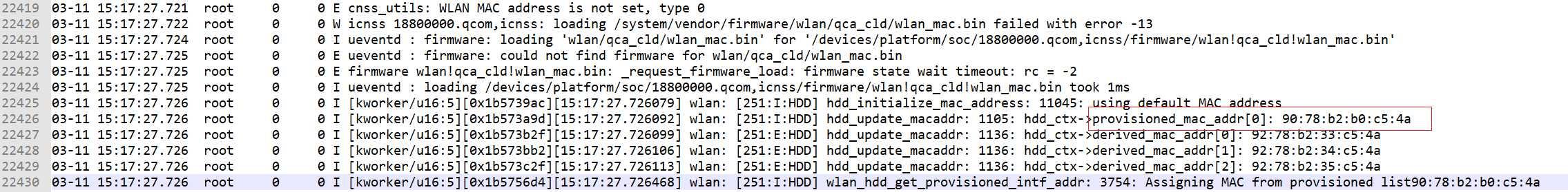 [BUG]新加坡地区wlan mac地址异常